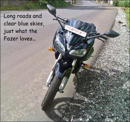 Long roads and clear blue skies, just what the Fazer loves