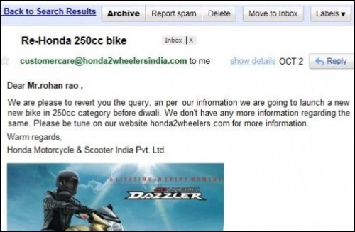 Honda Serious about Launching 250cc Bikes in India by Diwali ...