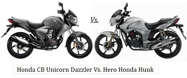 Honda CB Unicorn Dazzler Vs. Hero Honda Hunk