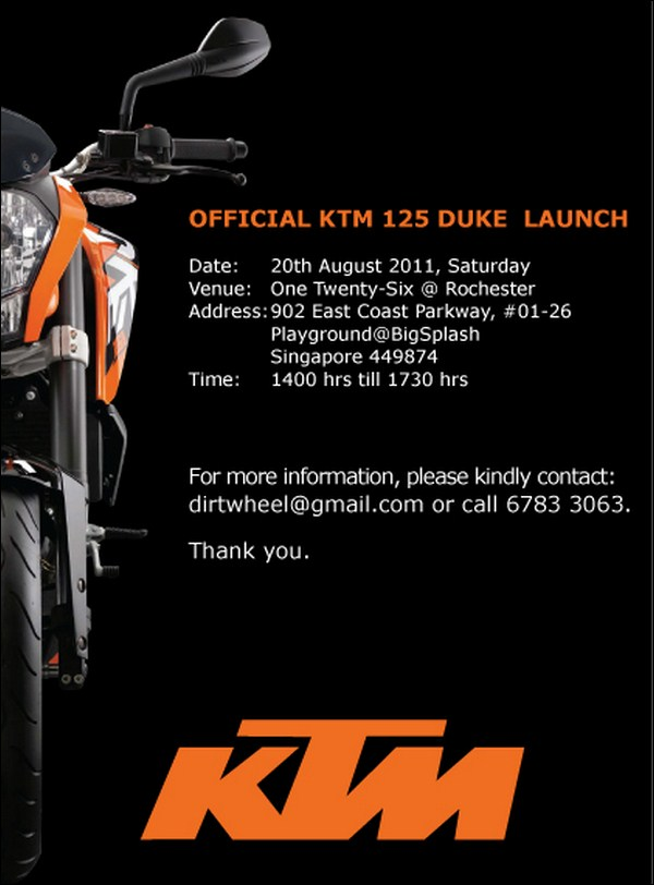 ktm 125 duke to be launched tomorrow in singapore