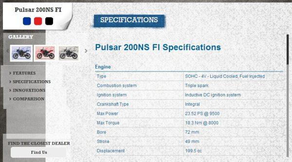 Bajaj-Pulsar-200ns-FI-Spec-Sheet