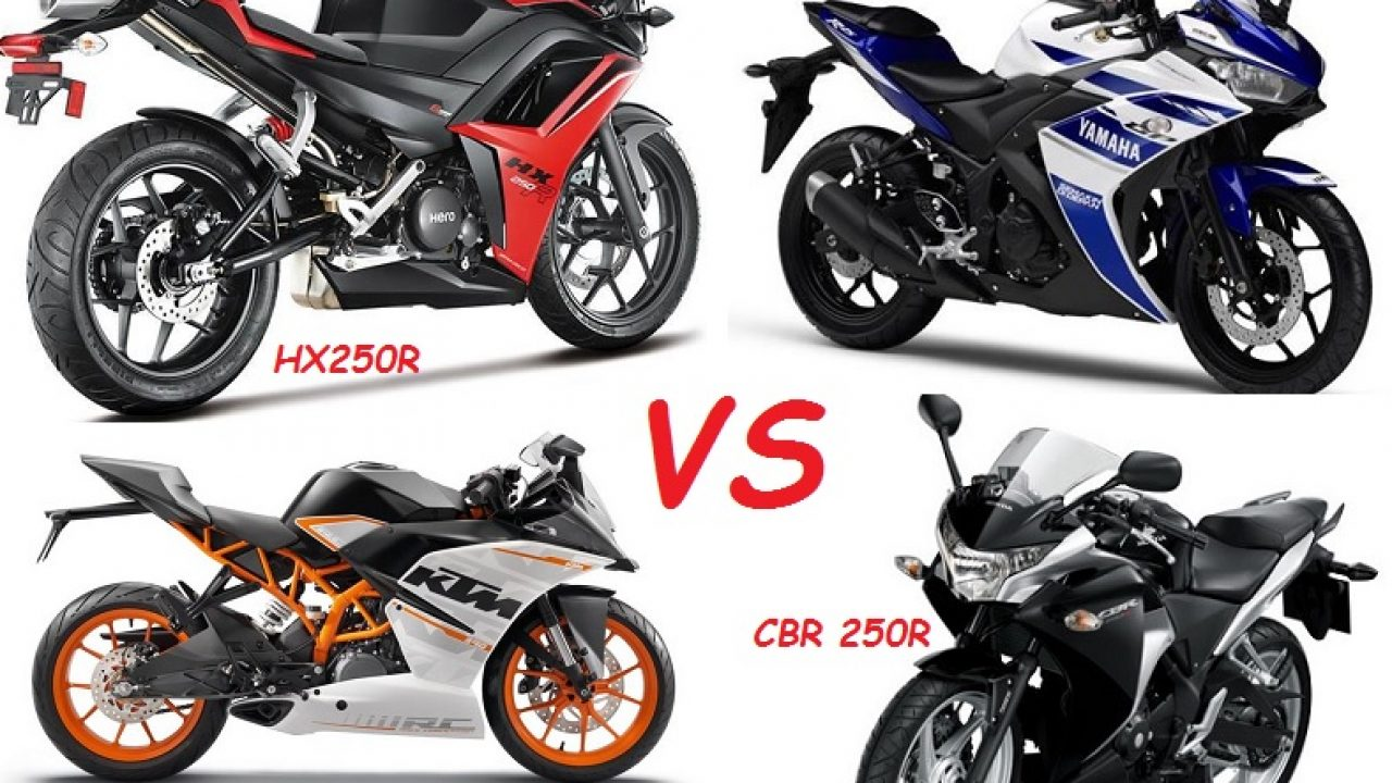 r25 vs rc390 vs cbr250r vs hx250r spec