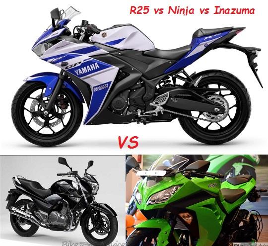R25 vs Ninja 250R vs Ninja 300 vs Inazuma: Spec Comparo
