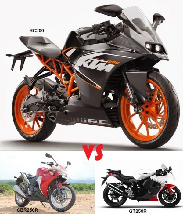 RC200 vs CBR250R vs GT250R: Price & Spec COMPARO