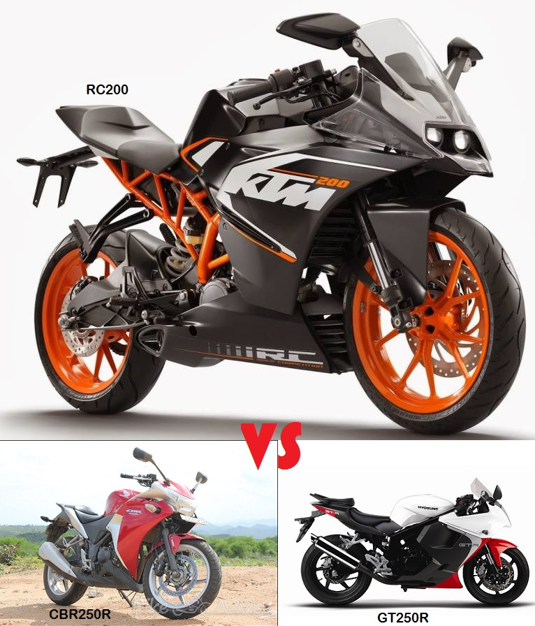 RC200 Vs CBR250R Vs GT250R: Price & Spec COMPARO