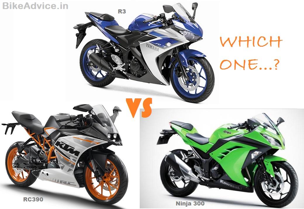 Yzf r3 vs ninja 300 vs rc390 spec price comparo for Yamaha honda kawasaki
