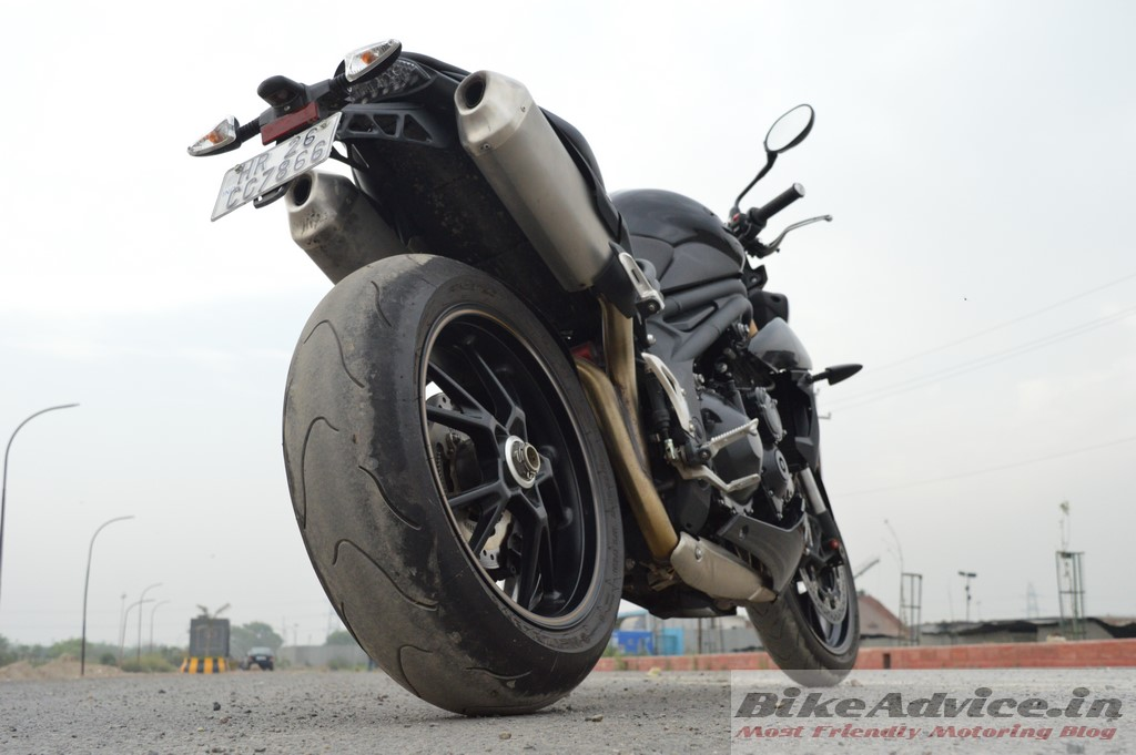 Speed Triple rear three-quarters