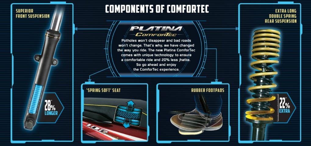 Bajaj Platina ComforTec features