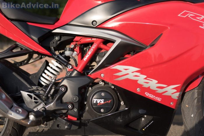 TVS Apache RR 310 review suspension