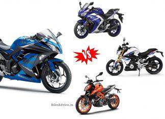 Ninja 300 vs R3 vs Duke 390