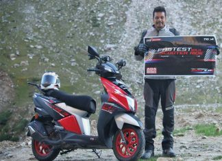 TVS rider sets new record.